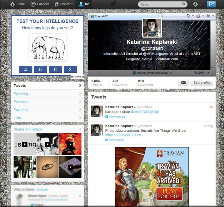 my twitter layout with annoying and distracting banners