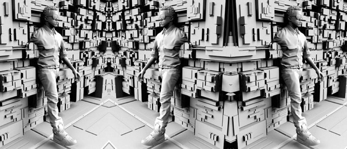 image of rapper Kanye West emerging from the wall of 3-D geometric shapes